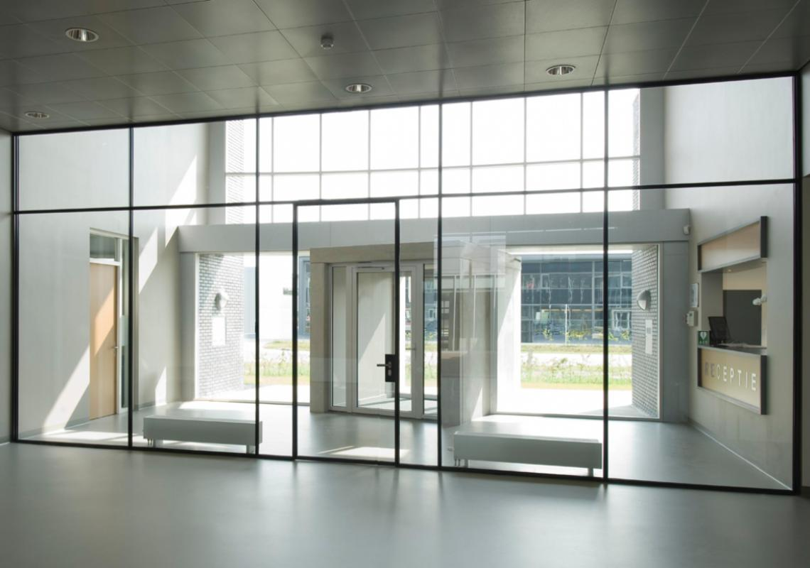Ultra-slim, strong, steel profile system for partition walls and interior doors.