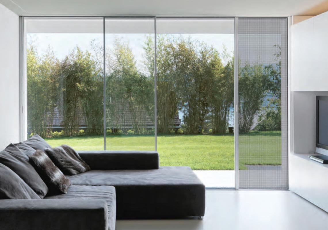 When not in use, the frameless, pleated Fly insect screen fully retracts out of sight into the frame.