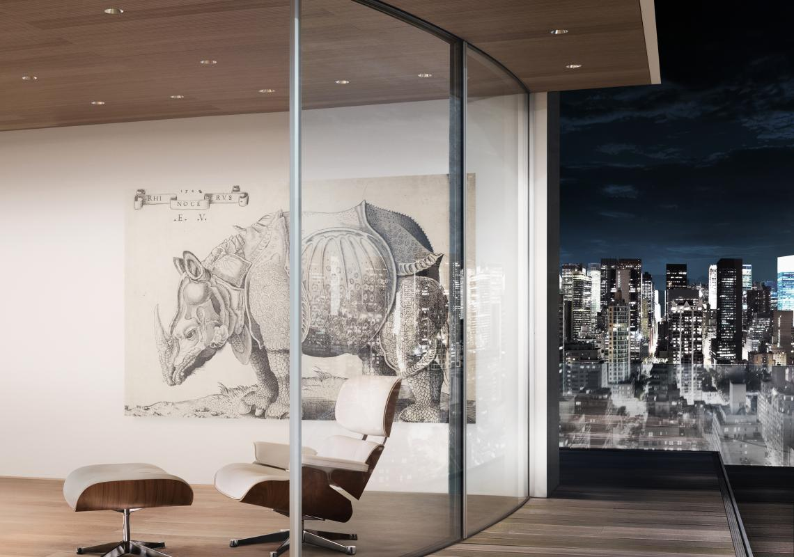 Sky-Frame Arc: Curved glass sliding doors, thermally broken with radiused glass, smooth running performance and can be motorized upon request. Available with dual-pane glazing and triple-pane glazing.